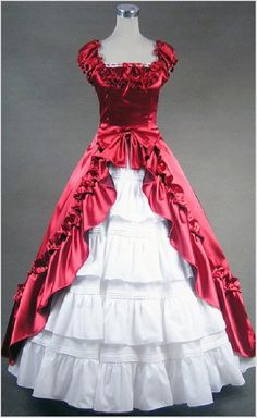 Red Black Gothic Victorian Ball Gown Punk Satin by procosplay 9cdaed394673