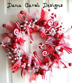 Peppermint Sticks & Lollipops Wreath by DanaCarolDesigns