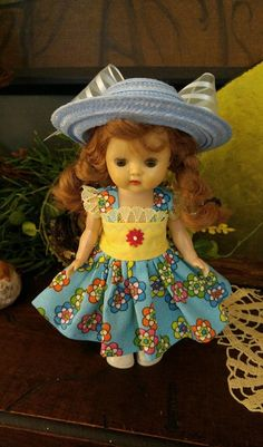 doll clothes dress and hat to fit Ginny Muffie Pam Ginger Wendy 8 inch doll