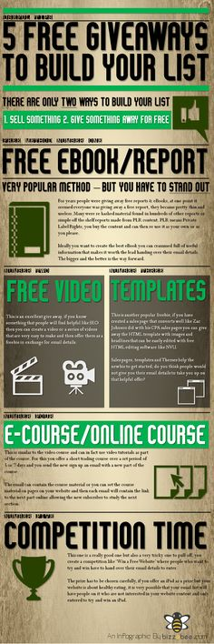 Five Free Giveaways to Build An Email List | #emailmarketing #infographic #infographics