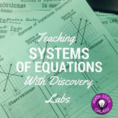 Teaching Systems of Equations with inquiry learning. Students will be doing the thinking- drawing connections and making conclusions to help them learn about systems of equations in a deeper way. My students loved this approach!!!!
