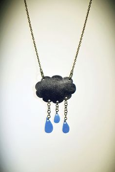 Blue Rain Cloud Shrink Plastic Necklace by CorrenAlyssa on Etsy