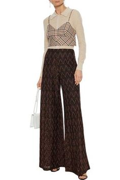 M Missoni Woman Metallic Crochet-knit Wide-leg Pants Black Wide Leg Pants, Black Pants, Missoni, World Of Fashion, Luxury Branding, Your Style, Metallic, Legs, Woman