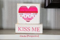 Perspective: easy to make Valentine blocks, with ribbon heart
