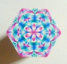 EXTRA LARGE Fuchsia, Peacock, Blue, and White Hexagon Polymer Clay Ca…