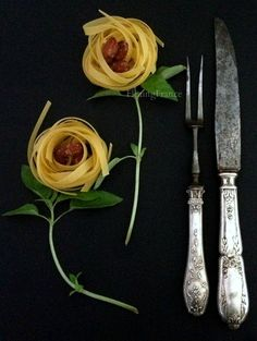 """""""Pasta flowers"""" or using my brocante finds in my photo school class ....  xo--FleaingFrance"""
