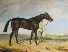 'Columcille', a Dark Bay Racehorse, Held by a Groom in a Landscape, 1938, by James Lynwood Palmer (1867/8-1941)