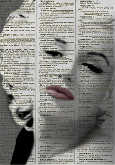 Sultry Marilyn Monroe, Marilyn Monroe Art Print, Print on Dictionary Paper, Wall Decor, Mixed Media Collage Book Art
