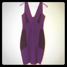 Purple And Black Fitted Dress. Size S