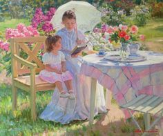 Alexandr Averin, artist - Paintings and art prints by Russian impressionist Alexander Averin at contemporary art gallery ArtRussia. Classic Paintings, Dog Paintings, Landscape Paintings, Monet, Modern Impressionism, Meadow Flowers, Renoir, Pictures To Paint, Artist Painting