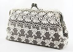 ANGEE W L'innocente  Schiffli Lace Clutch in Black and by ANGEEW, $60.00