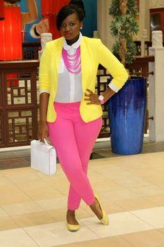 plus size fashion. love the color combi!!
