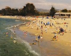 Summertime, Del Monte Beach by Brian Blood Oil ~ 11 x 14 Impressionist Paintings, Seascape Paintings, Oil Paintings, Sand And Water, Water Art, Landscape Art, Landscape Paintings, Landscapes, Paintings I Love
