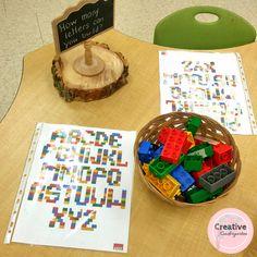 Lego letters literacy center for kindergarten
