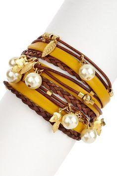 Multi-Strand Leather Swarovski Pearl Wrap Bracelet
