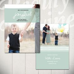 Christmas Card Template: Happiest Holidays B - 5x7 Holiday Card Template for Photographers | By Beauty Divine Design on Etsy