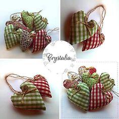 Fabric hearts hand made by Crystalia