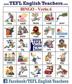 TEFL English Teachers Bingo Verbs game board 17 of 20 English Games, English Activities, English Class, Teaching English, Learn English, English Teachers, English Verbs, English Vocabulary, English Language