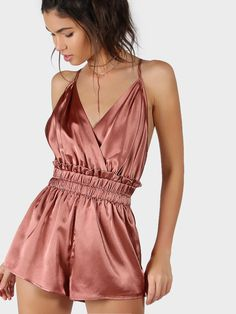 0a908b6de1 Shop Satin Crisscross Strappy Back Elastic Waist Wrap Romper online. SheIn  offers Satin Crisscross Strappy Back Elastic Waist Wrap Romper   more to  fit your ...