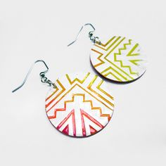 Hand-painted earrings by Navajo artist Andrea Preston