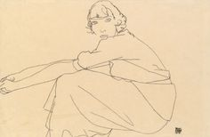 'seated girl' by egon schiele (1917)