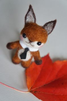 Wool Felt Fox in Tux - Needle Felted Animal Fox - What does the Fox say - Blythe Accessory - Stocking Stuffer on Etsy, $31.00