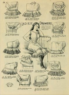 1898 Vintage Fashion - H.O'Neills Spring & Summer Catalogue Page 28 - Victorian Ladies Drawers Underthings Fashion 90s, 1890s Fashion, Fashion History, Vintage Fashion, Vintage Corset, Vintage Underwear, Vintage Lingerie, Ladies Underwear, Historical Costume