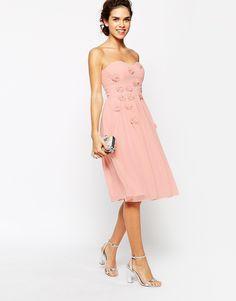 Image 4 ofElise Ryan Midi Bandeau Dress with 3D Daisy Flowers