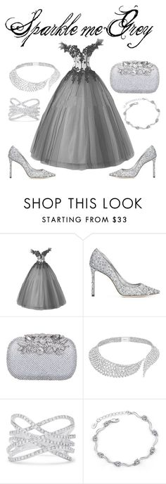 """Sparkle me Grey"" by jinxr2m ❤ liked on Polyvore featuring Jimmy Choo, Messika and Effy Jewelry"