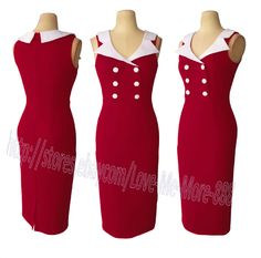 Womens Sleeveless Rockabilly Pinup Bodycon Fitted Midi Pencil A Wiggle Dress RED #covenchinchin #WigglePencil #WeartoWork