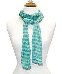 Look at this #zulilyfind! Seafoam Stripe Jersey Knit Scarf by Tickled Pink #zulilyfinds