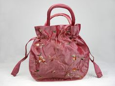 SILK EMBROIDERED DRAWSTRING BAG PINK   chinese embroidery tutorial