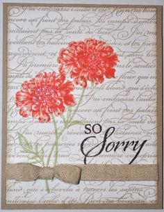 En Francais, Field Flowers, So Sorry Making Greeting Cards, Greeting Cards Handmade, Handmade Greetings, Stampin Up Karten, Sorry Cards, Stamping Up Cards, Rubber Stamping, Get Well Cards, Copics