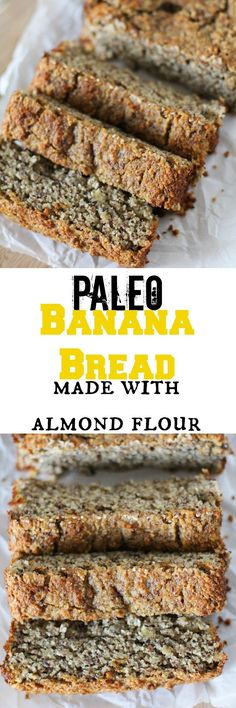 Best Ideas For Breakfast Recipes Paleo Banana Bread Paleo Banana Bread, Paleo Bread, Paleo Baking, Low Carb Bread, Banana Bread Almond Flour, Coconut Flour, Almond Flour Baking, Clean Banana Bread, Paleo Flour