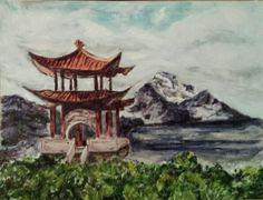 Paysage zen. Peinture à l'huile. 04/2015