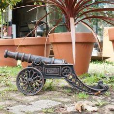 Cast iron bronze miniature cannon home/garden statue