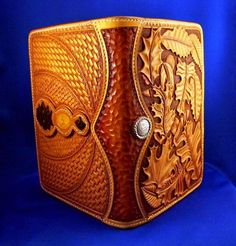 """Beautifully defined leatherworking on this notepad cover by Ed the """"BearMan"""""""