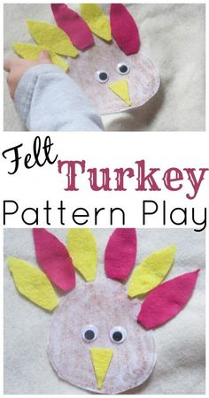 Only 3 MINUTES to set up! Felt Turkey Pattern Play. Learn about colors and patterns. Fun activity for toddlers and preschoolers which can be made to suit their skill level. Thanksgiving learning fun!