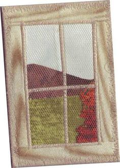 stitche & applique-ize the Matraia winery window for my kitchen window curtains. Get the photo printed for black frame Fabric Cards, Fabric Postcards, Small Quilts, Mini Quilts, Sewing Crafts, Sewing Projects, Textiles, Fabric Journals, Fabric Rug