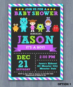 Monsters inc inspired baby shower invitation monster baby shower monster inc baby shower invitation monster baby by kidzparty filmwisefo