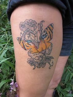 Tiger Butterfly Tattoo by David McNair #Tattoos #Butterfly #Tiger #TigerButterflyTatoo #Tattoosforwomen http://tattoopics.org/tiger-butterfly-tattoo-by-david-mcnair/