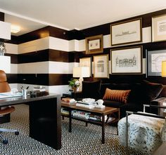 Love the matte white and high gloss black stripe idea!! Living room? Kitchen? Bathroom? Cigar room? Gorgeous!!