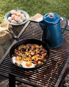 Campfire Fried Eggs With Potato-and-Bacon Hash Recipe