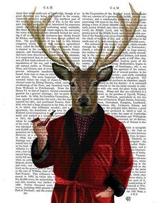 Deer In Smoking Jacket Dictionary Print