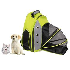 New Pet Backpack Carrier Travel Mesh Bag Tote for Small Dog Cat Pet Green Blue #Unbranded