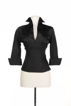 Lauren Top in Black Sateen | Pinup Girl Clothing ~want it in every color.~
