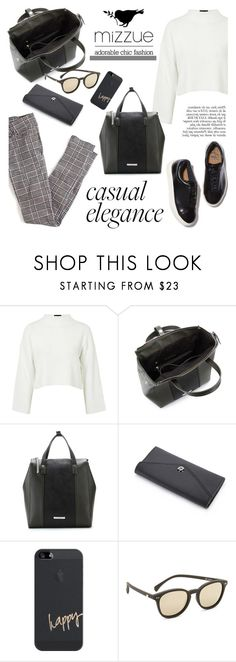 """Casual elegance/Mizzue Accessories"" by helenevlacho ❤ liked on Polyvore featuring Topshop, Eytys, Anja, Casetify, Le Specs and mizzue"