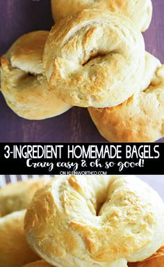 3-Ingredient Homemade Bagels are easy to make with greek yogurt & a few minutes. Whip up enough for breakfast throughout the week. Known as the weight watchers bagel recipe - these are light & delicious. #3ingredient #homemadebagels #baked #bagel #breakfastrecipes #howtomakehomemadebagels #weightwatchersrecipes #weightwatchersbagels