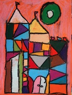 paul klee grade, cubism castles, drawing large (outline) to small (detail) by 'cutting shapes' with lines Art Lessons For Kids, Art Lessons Elementary, Kindergarten Art, Preschool Art, Paul Klee Art, Cubism Art, 3rd Grade Art, School Art Projects, Art Classroom