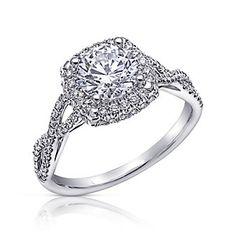 14K White Gold Halo Twist Diamond Ring Mounting  2FSSW4055